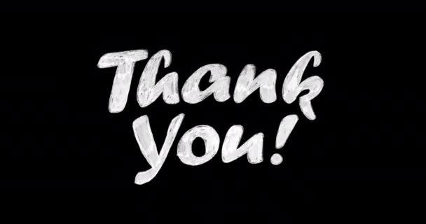 4k animierte, weiße, handgezeichnete Worte Danke auf schwarzem Hintergrund