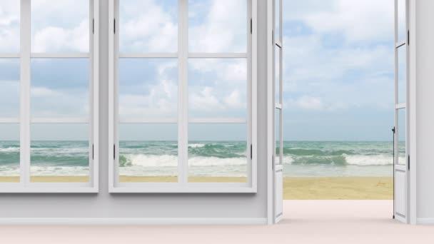Dům s výhledem na moře, velkým oknem a výhledem na pláž