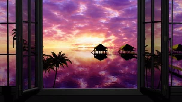 Sonnenuntergang auf den Malediven, Blick durch ein Fenster auf das Meer