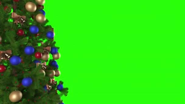 Vánoční stromek s hračkami otáčí na zelené obrazovce.Mary Vánoce a šťastný nový rok pozadí animace.