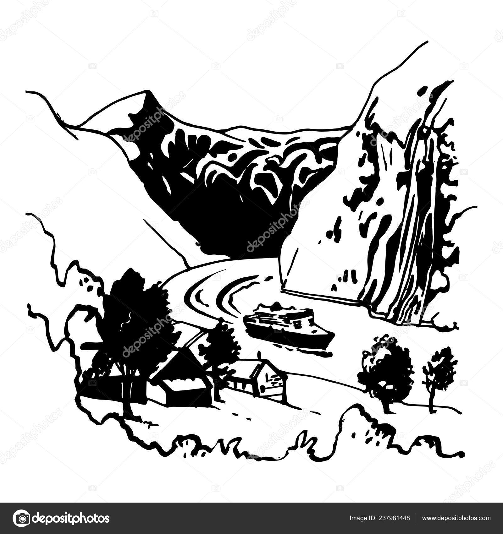 vector black white rocks motor ship river beautiful landscape stock vector c irinagorbunovaart 237981448 https depositphotos com 237981448 stock illustration vector black white rocks motor html