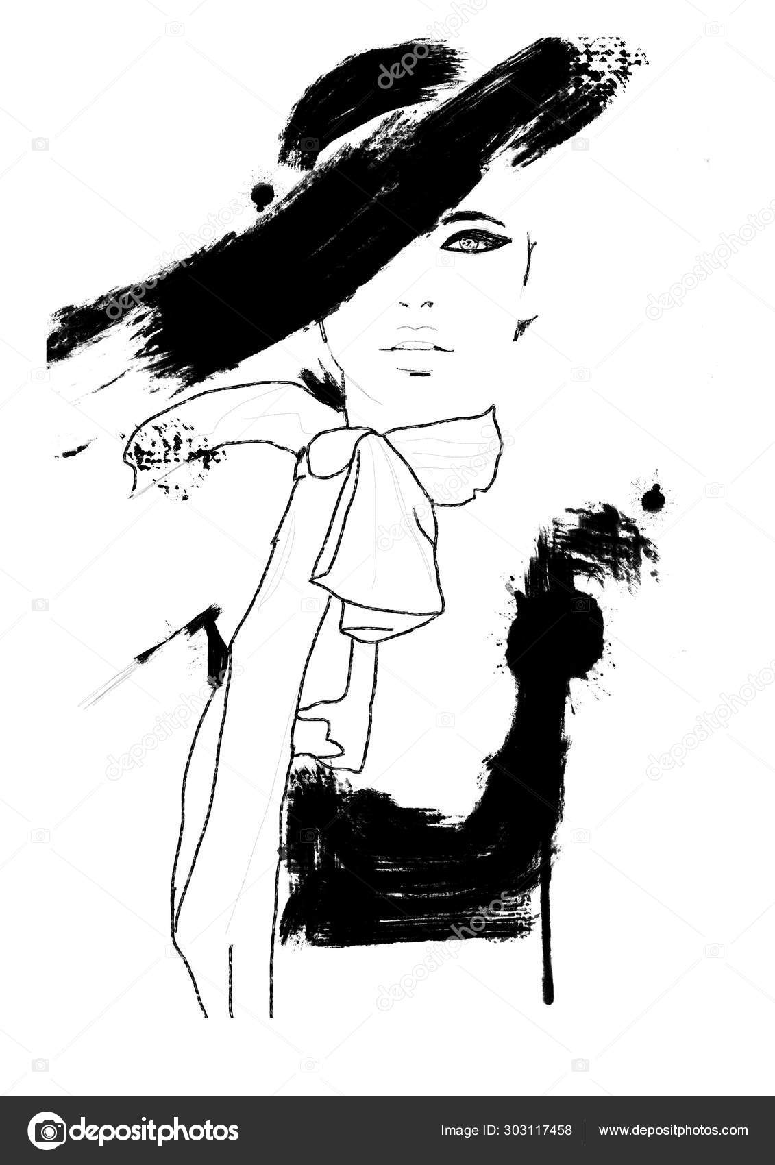 Sketch Fashion Abstract Simple Black White Painting