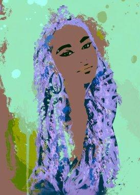 Black woman afro hair art