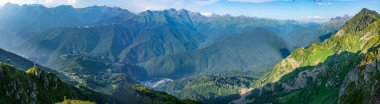 Panoramic view from the top of the aibga Ridge at the Rosa Khutor ski resort.