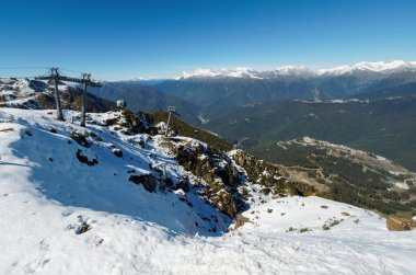 Panoramic view from the top of the Aibga mountain range to the ski resort with cableway. The valley is surrounded by high mountains with snowy slopes.