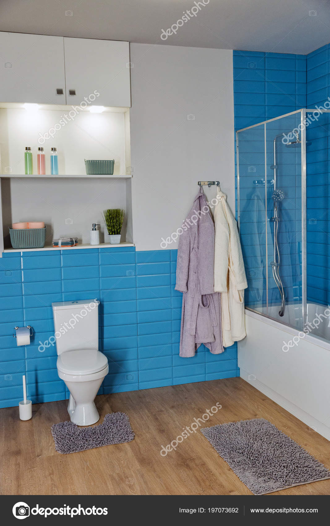 Modern Bathroom White Toilet Bowl Blue Tile — Stock Photo © panama7 ...