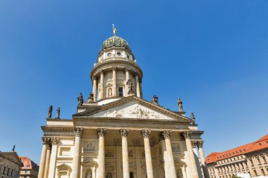 French Church exterior on Gendarmenmarkt square in Berlin, Germany.