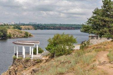 Khortytsia island, Zaporizhia cityscape and River Dnieper, Ukraine.
