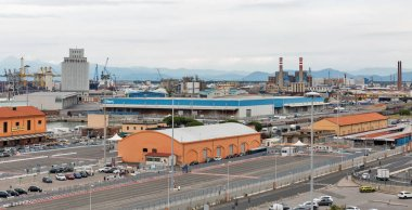 Industrial terminal in Livorno port, Italy.