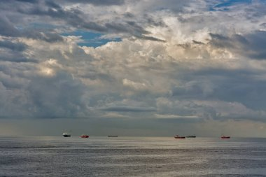 Ships on the roadstead in the open water