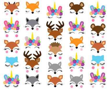 Mix and Match Animal Faces - Create Whimsical Animal Faces by Mix and Matching Heads, Eyes and Accessories stock vector