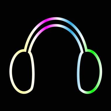 rainbow headphones on black
