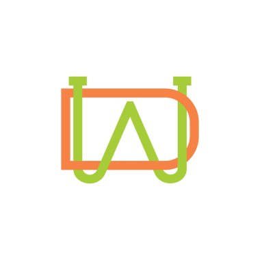 letters wd simple linked line logo vector