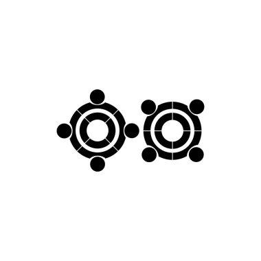 Human meeting abstract geometric logo vector icon