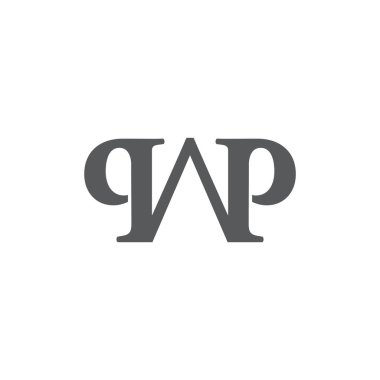 letter wp simple linked logo vector