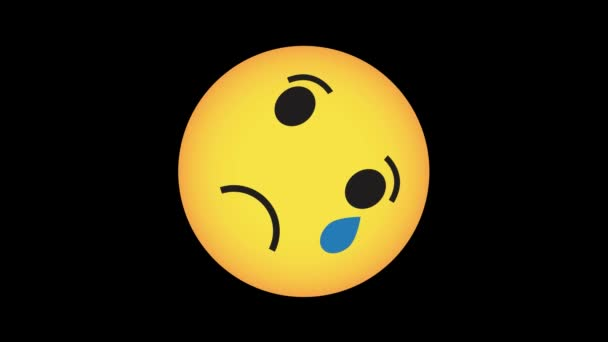 The crying smile turns into a joyful smile. Emoji. Social media. Animation on black background