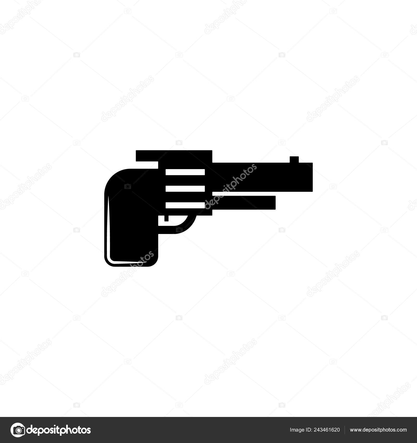 Weapon Revolver Icon Element Military Illustration Signs Symbols