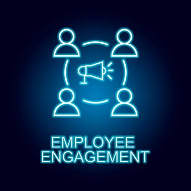 employee engagement line icon in neon style. Element of human resources icon for mobile concept and web apps