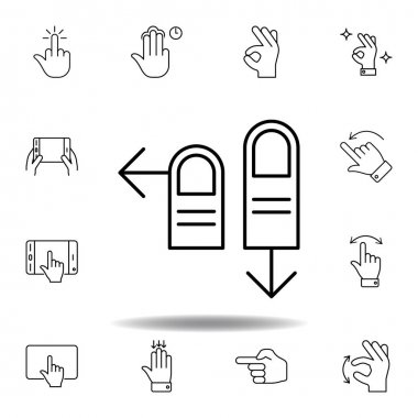 fingers left and down swipe gesture outline icon. Set of hand gesturies illustration. Signs and symbols can be used for web, logo, mobile app, UI, UX