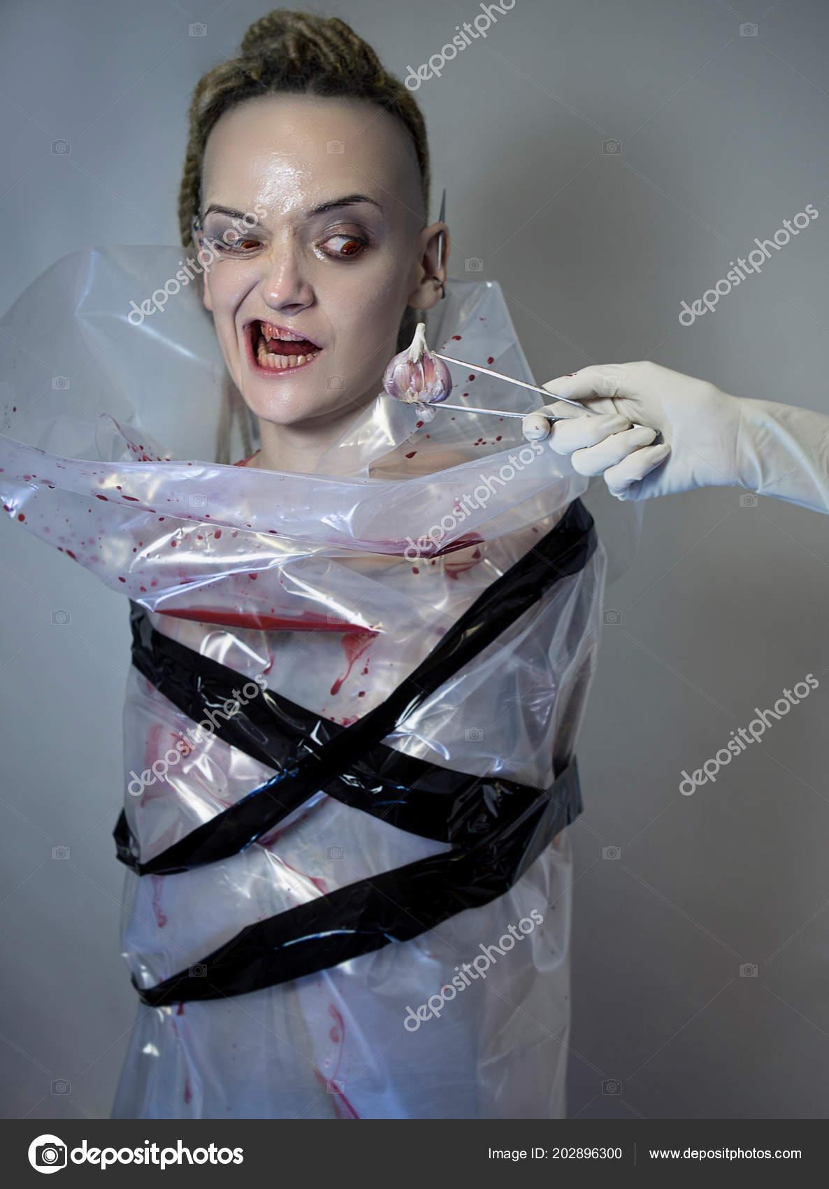 Vampire Portrait Hunting Vampire Model Face Pale Skin Bloody Fangs