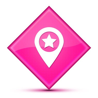 Map pointer star icon isolated on luxurious wavy pink diamond button abstract illustration