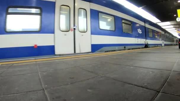 Train arriving at a station platform. Israel,Haifa,Israeli railway.
