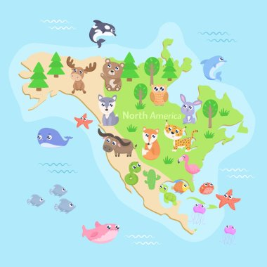 Map of North America with animals. Flat design.