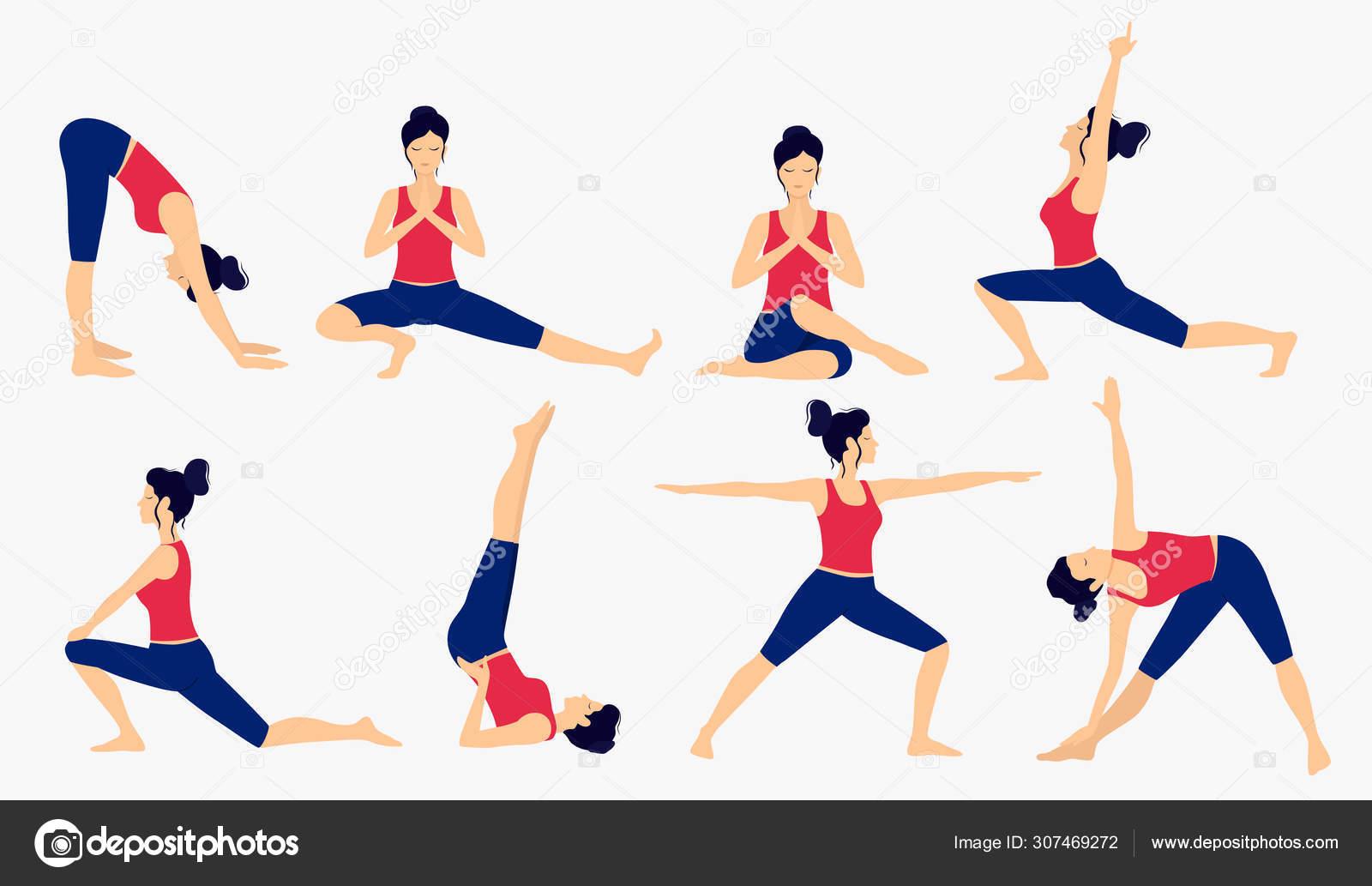 Various Yoga Poses Set Female Yoga Vector Illustration Healthy Lifestyle Stock Vector C Svetlam 307469272