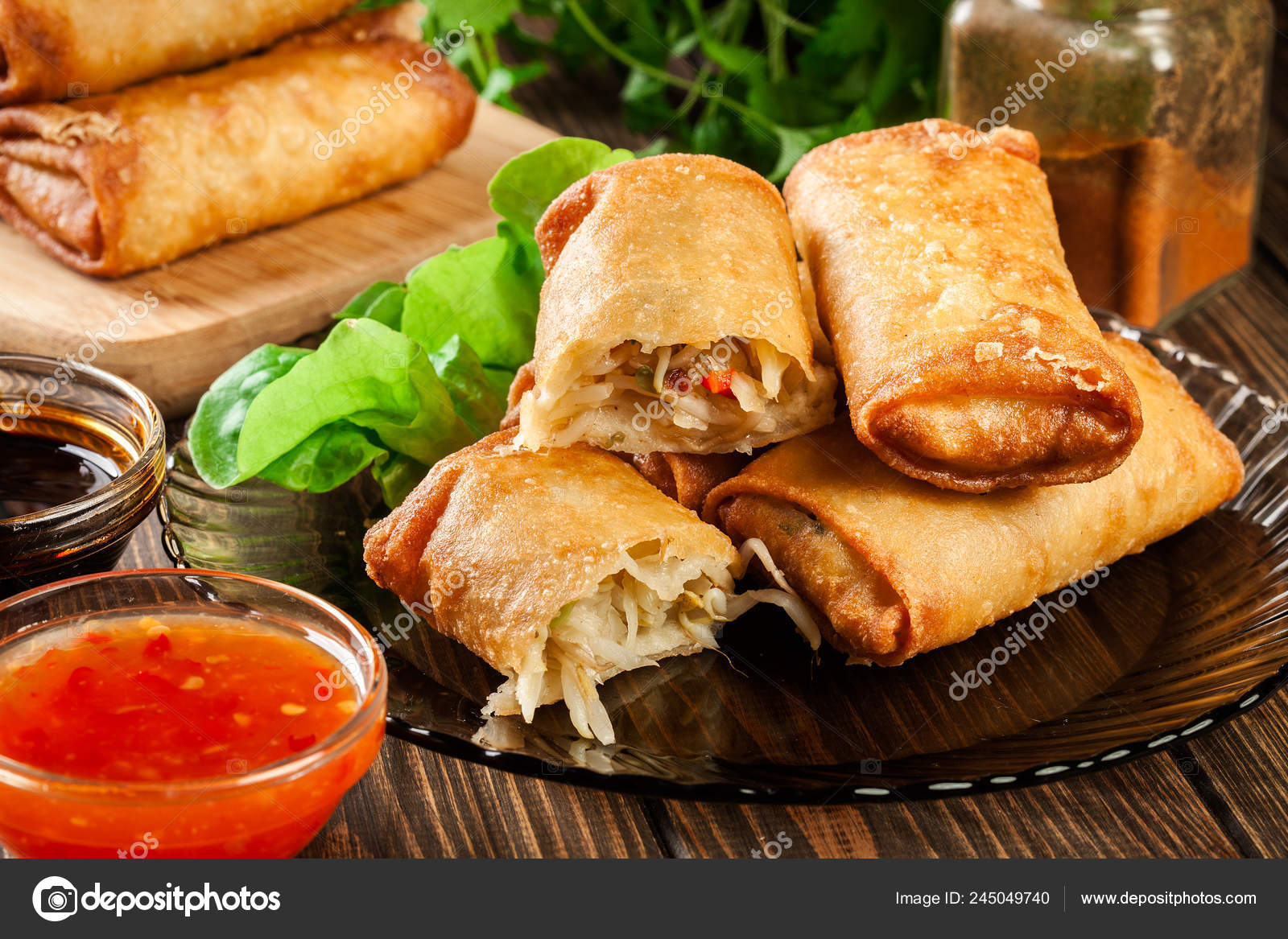 Spring Rolls Chicken Vegetables Served Sweet Chili Sauce Soy Sauce Stock Photo Image By C Fotek 245049740