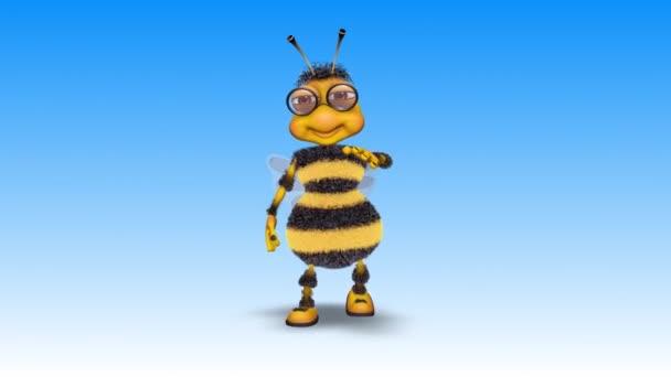 Bee 3d zábavný charakter, 2 Video smyčky - na pozadí a na alfa kanál