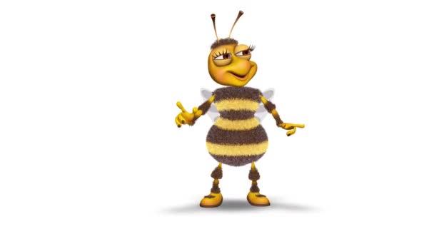 Bee 3d zábavný charakter. 2 video smyčky - na pozadí a na alfa kanál