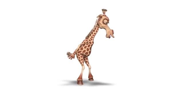 Zsiráf 3d szórakoztató karaktert. 2 video hurkok - háttér és alfa-csatorna