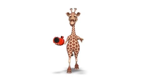 Žirafa 3d zábavný charakter. 2 video smyčky - na pozadí a na alfa kanál