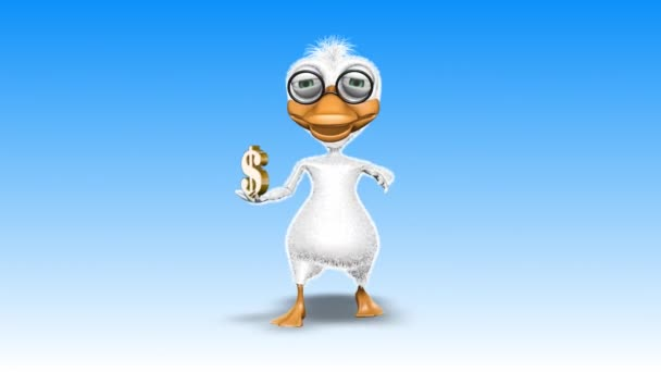 Duck 3D Fun Character. 2 Video Loops - on Background and on Alpha Channel