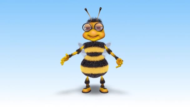 Bee 3D Fun Character - 2 Video Loops - on Background and on Alpha Channel