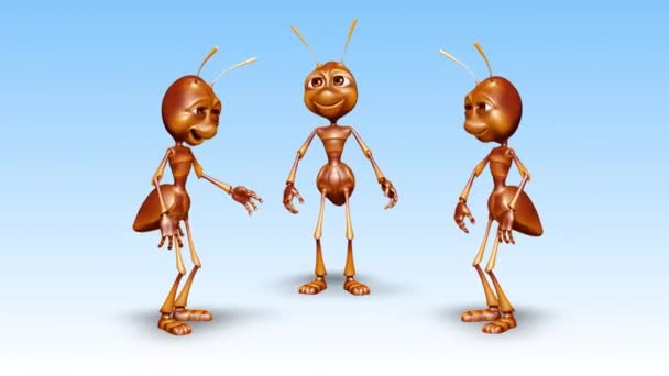 Ant 3D Fun Character- 2 Video Loops - on Background and on Alpha Channel
