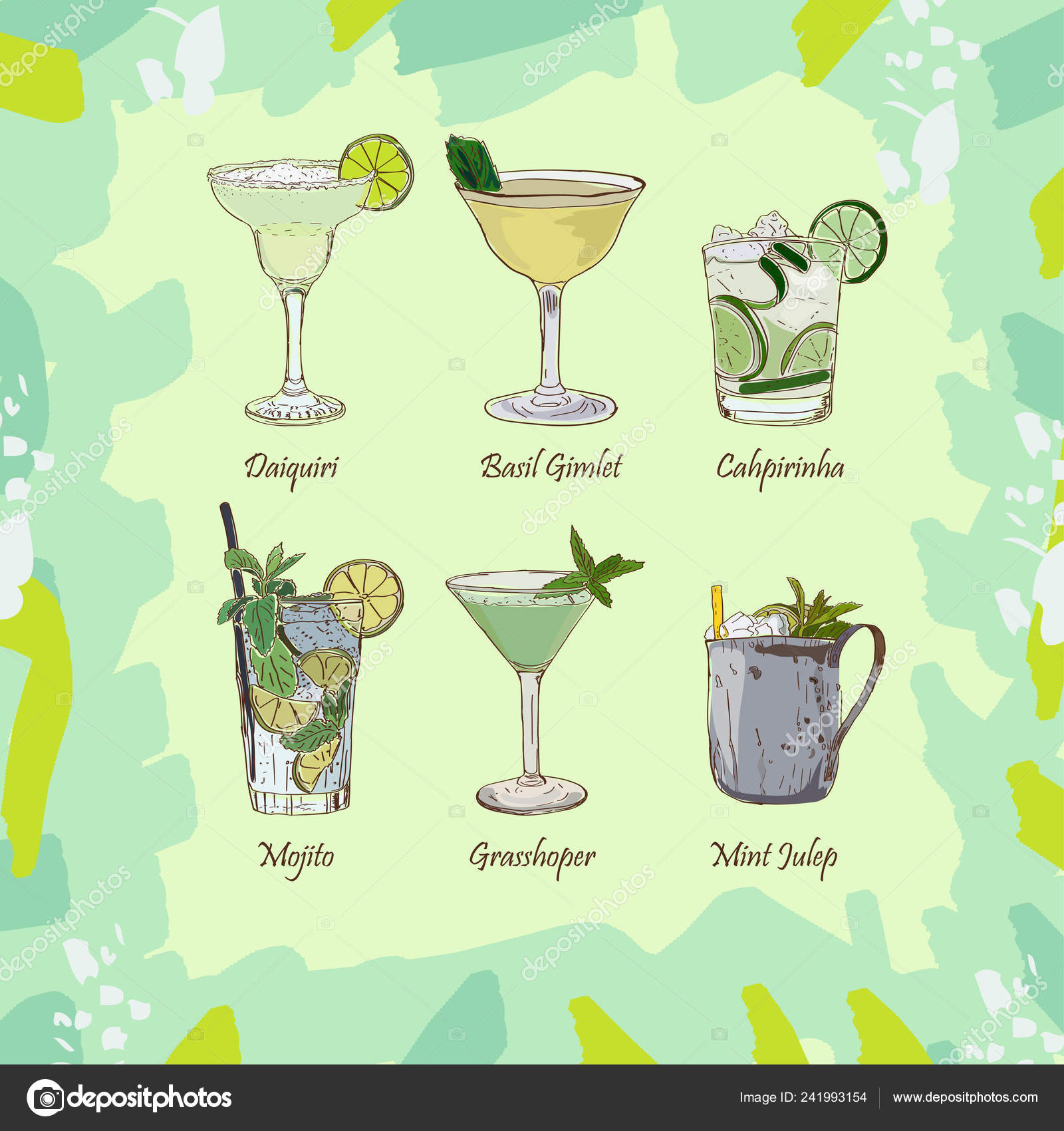 Set Classic Cocktails Abstract Green Background Fresh Bar
