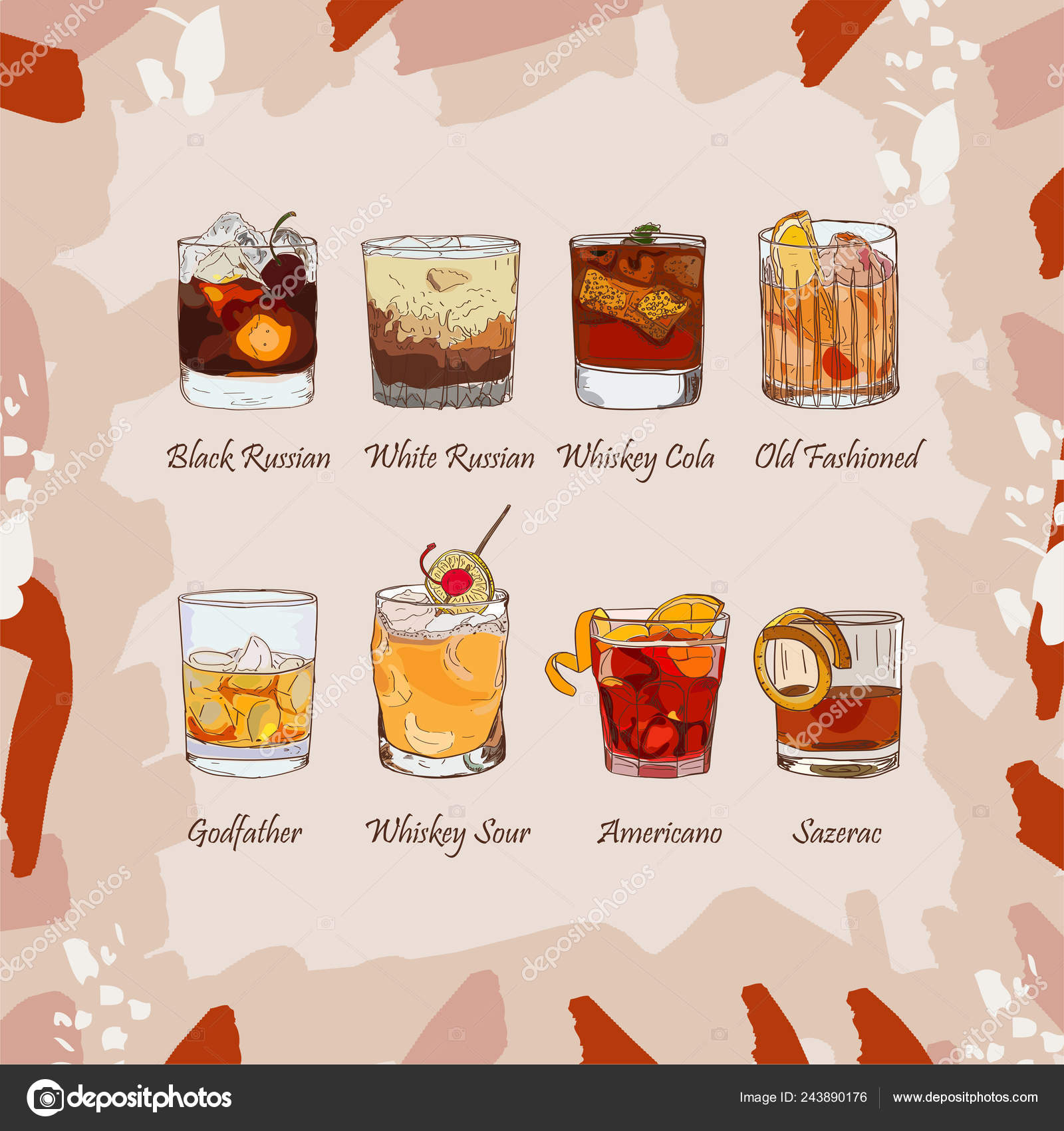 Set of classic cocktails on abstract background  Fresh bar