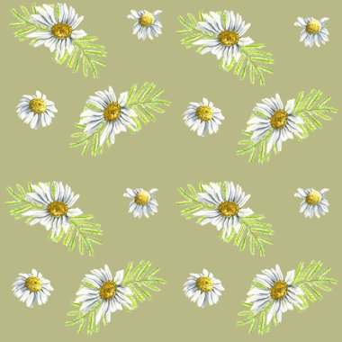 Seamless pattern wirh floral elements for Easter or spring design. Endless texture with camomile mimosa and daisy flowers. on dark green background