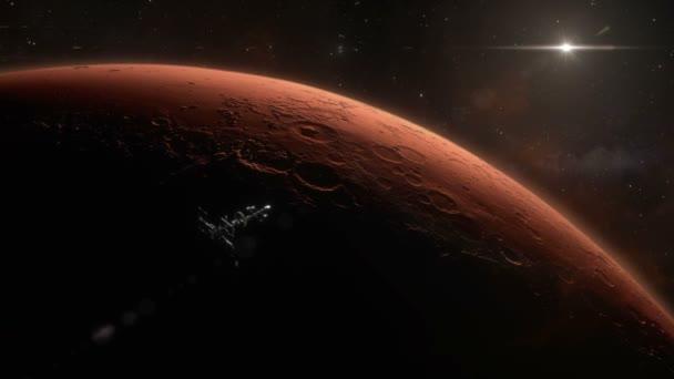 Spaceship Orbiting Mars Background