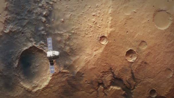 planet mars from orbit with spaceship
