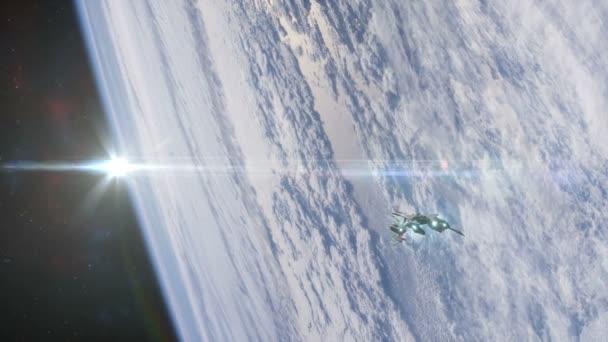 spaceship in orbit background