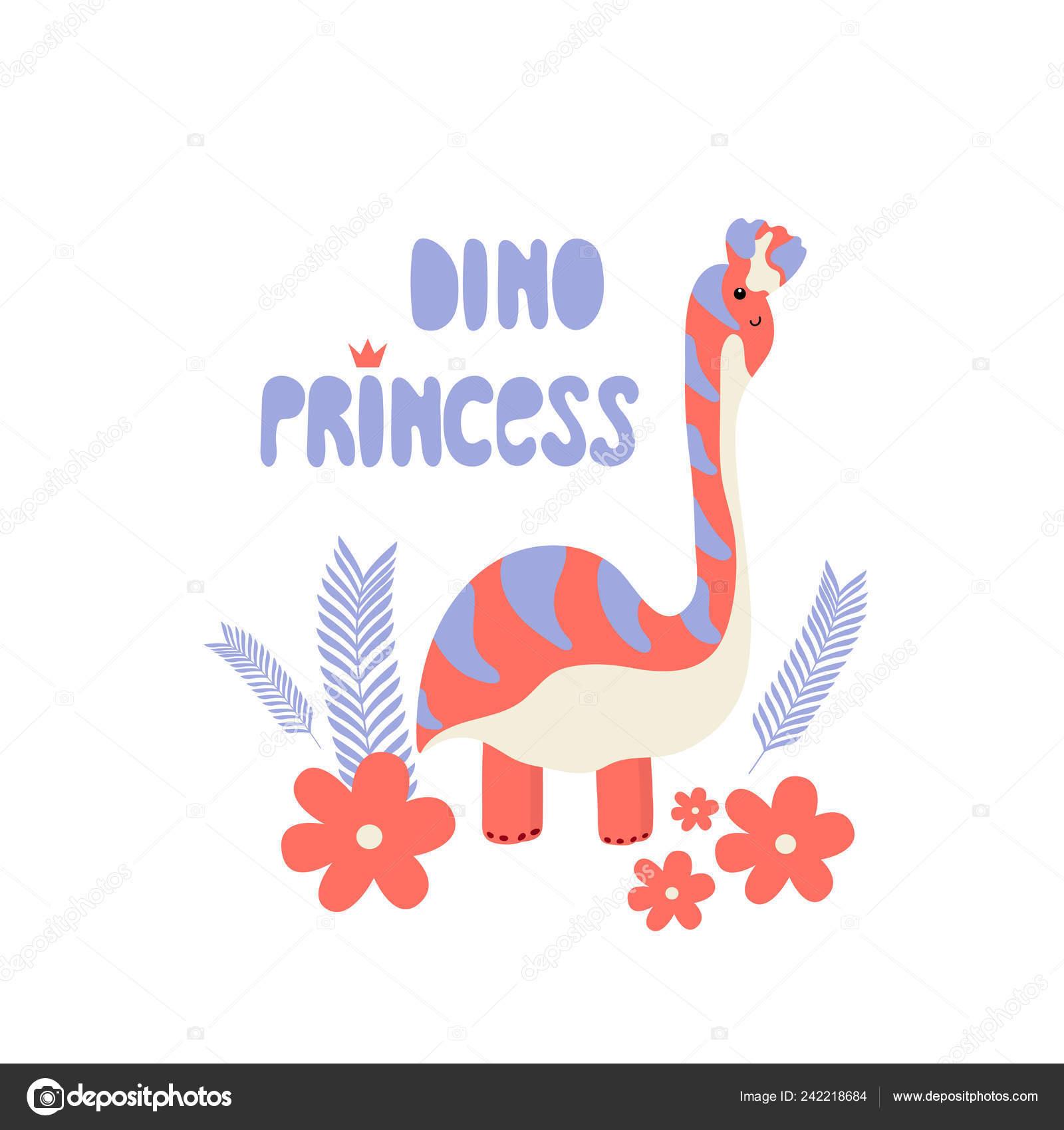 恐竜少女のかわいいプリントですクールな恐竜姫保育園の王冠イラスト T