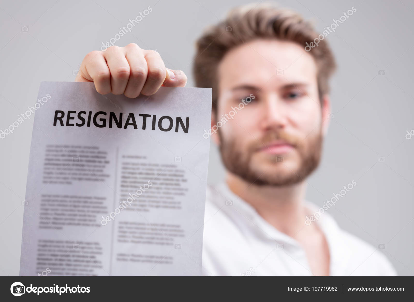 Man Holding Resignation Letter Terminating His Employment Contract ...