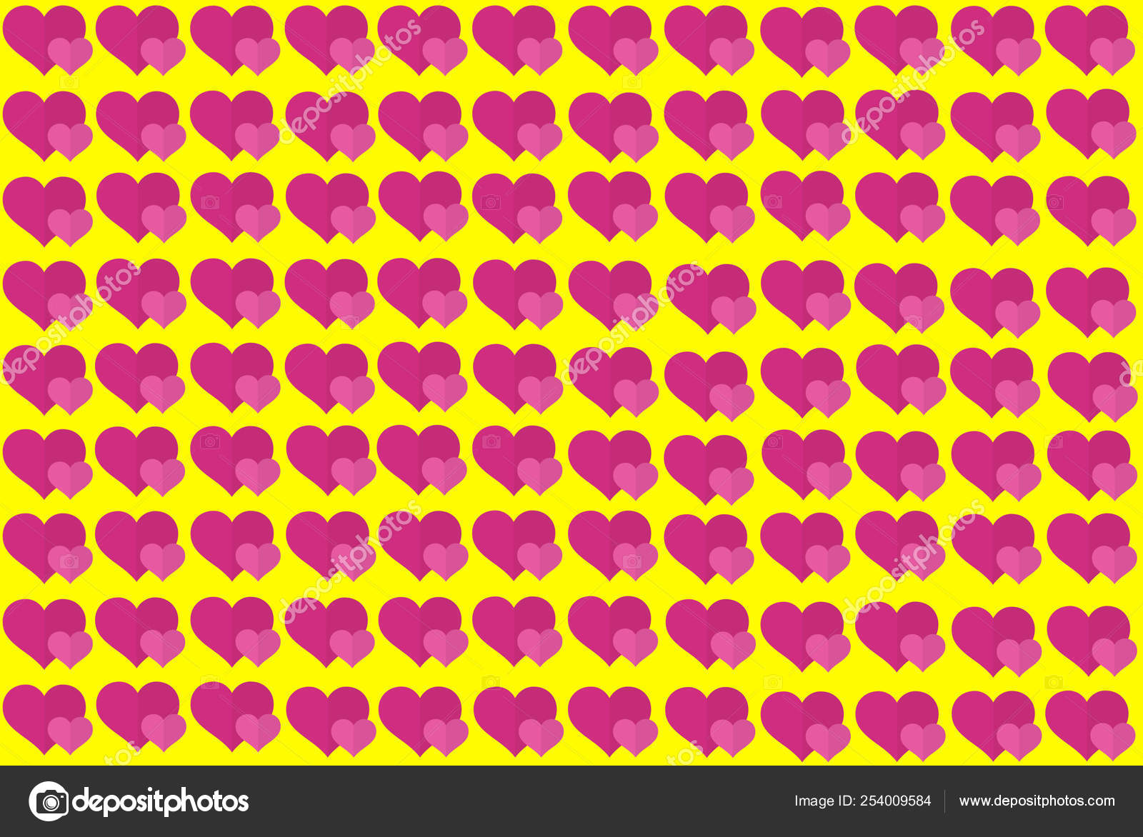 Pink Heart Shape on Yellow Background  Hearts Dot Design