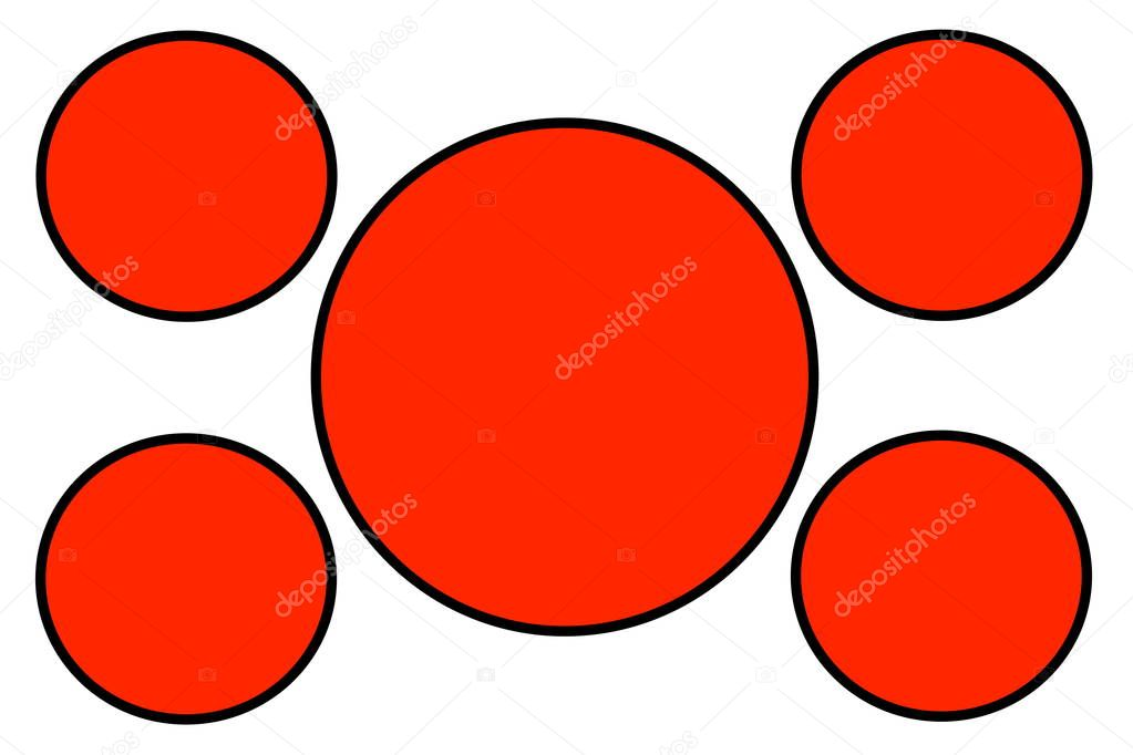 Red Circular Banners, Black Border and White Background. Use for Illustration purpose, background, website, businesses, presentations, Product Promotions.. Empty Circles for Text, Data Placement.