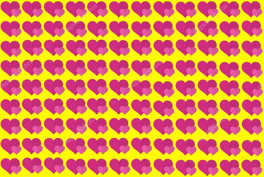 Pink Heart Shape on Yellow Background. Hearts Dot Design. Can be used for Articles, Printing, Illustration purpose, background, website, businesses, presentations, Product Promotions etc.