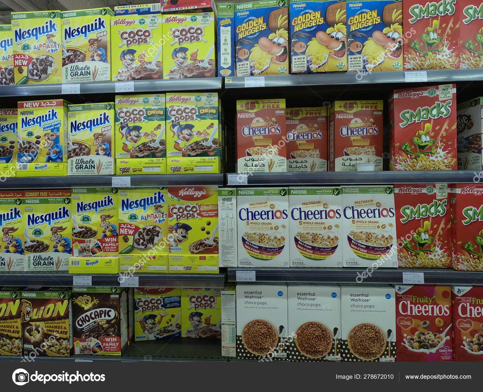 Dubai UAE - May 2019: Golden Nuggets, Cheerios,smacks
