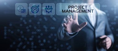 Project management Time Planning business concept on screen.