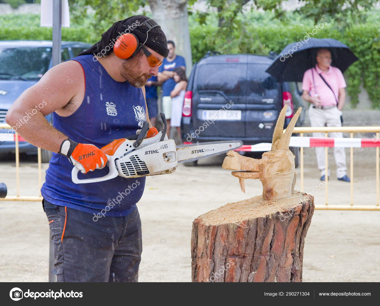 Alella Spain July Wood Sculpture Competition Chainsaw July